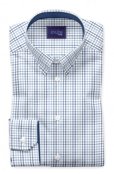 Exotic Exton  Blue  Dobby Checks Shirt
