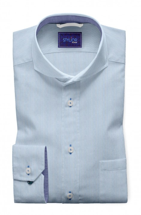 Turin Ice Blue Pinstripe Shirt