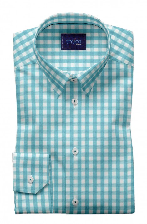 Rumours Sky Blue Checks Shirt