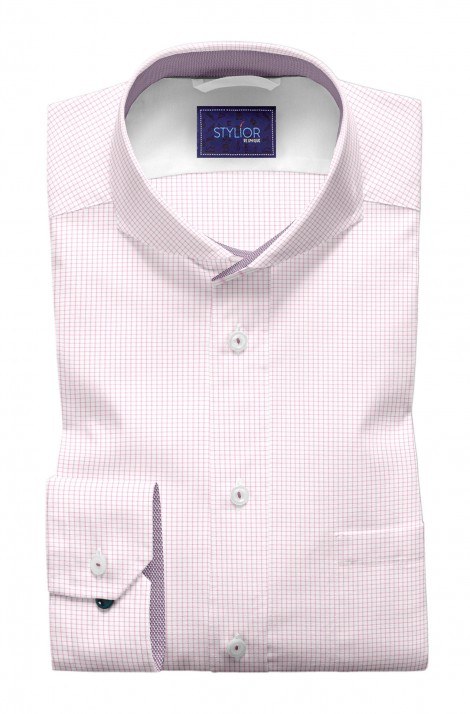 Fresh Base white With Pink Checks Shirt