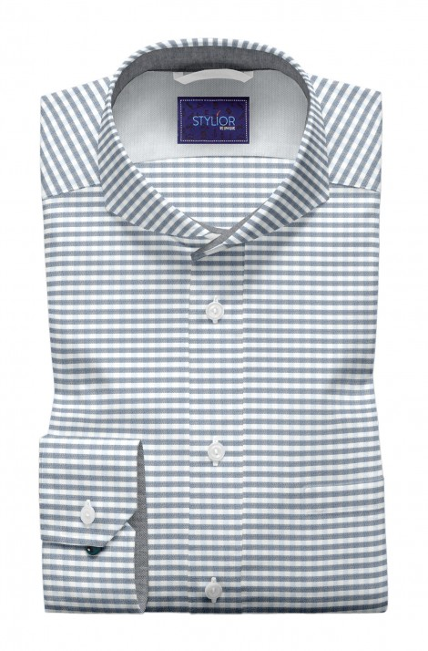 Siya Sakkar White with Blue Stripes Shirt