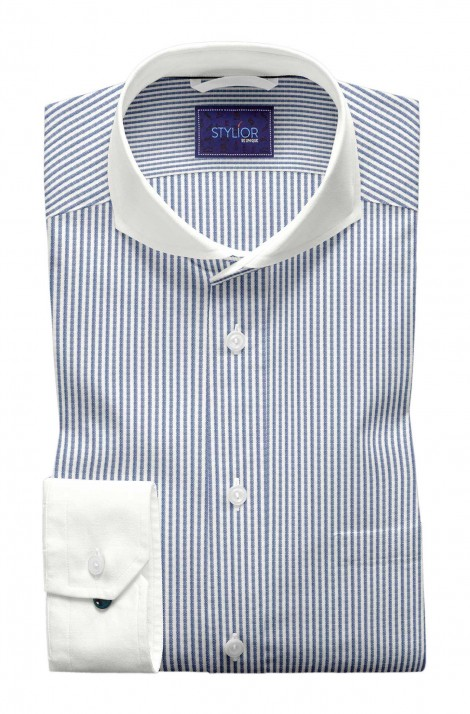 White And Blue Vibrating Thin Stripes Shirt