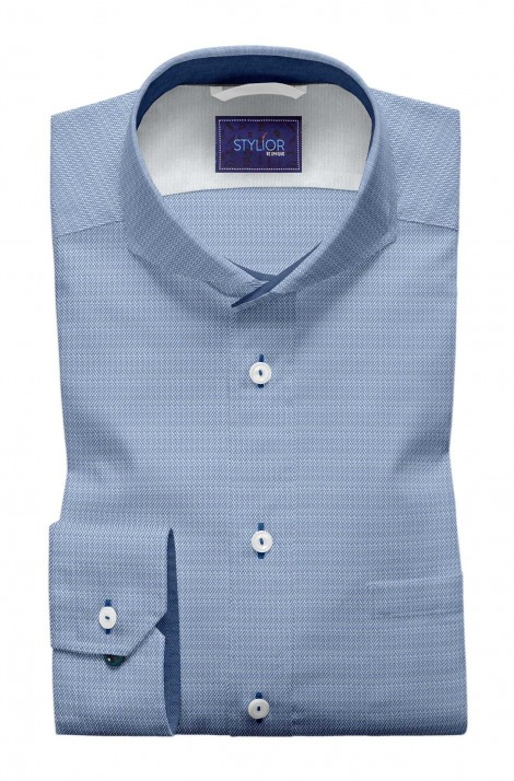 Amazing Harringbone Medium Blue Shirt