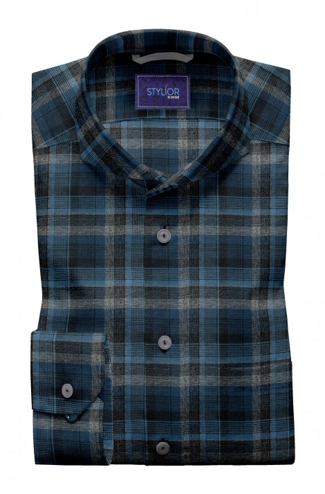 Carbon Effect Blue Tweed Checks Shirt