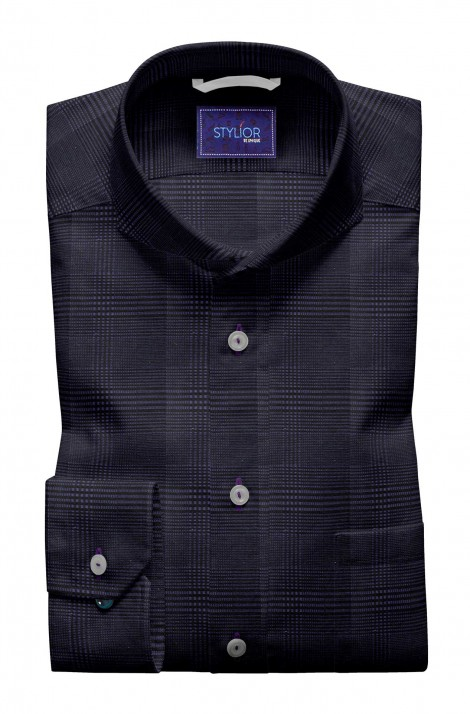 Purple with Black Tweed Checks Shirt