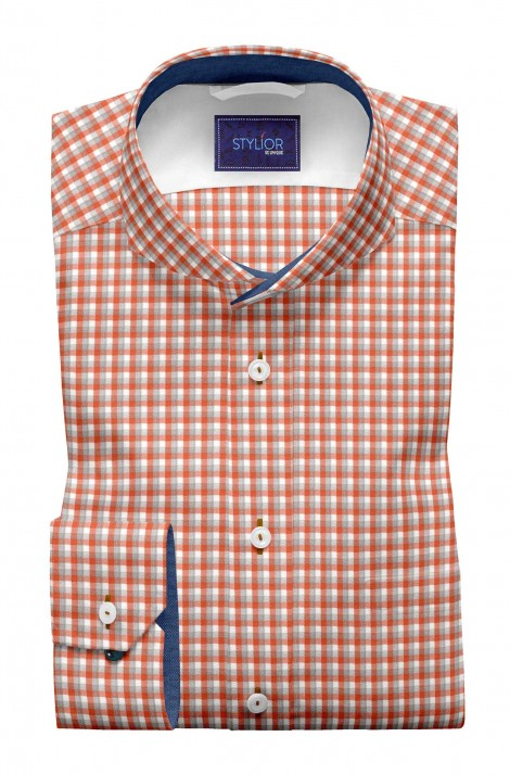 Twill Orange, Grey and White Square Checks Shirt