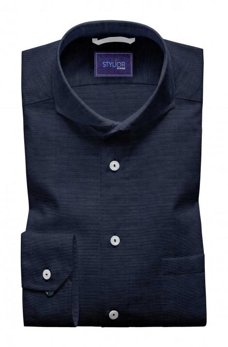 Watch Out Textured Blue Shirt