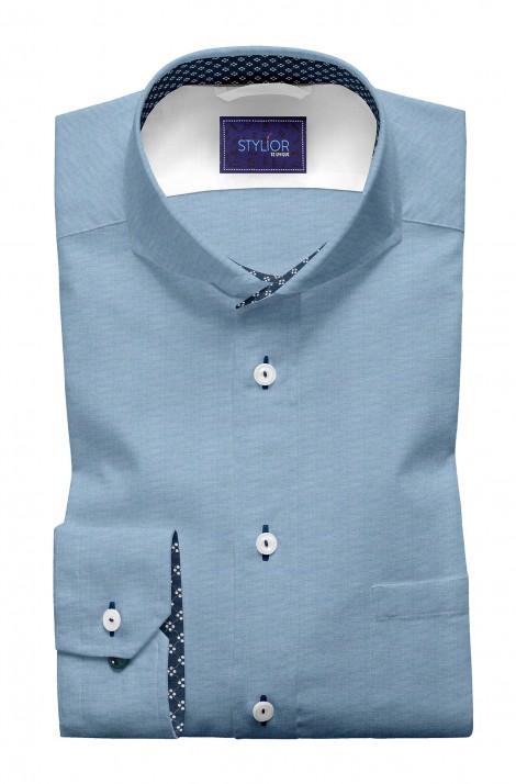 Manchestar Solid Blue Oxford Shirt
